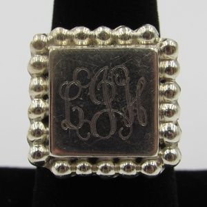 Vintage Size 8 Sterling Rustic Initials Band Ring